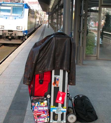 Jon Hammond Touring Pack on Train Track in GermanyOn-Tour