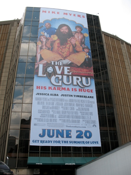 Giant Banner for opening of The LOVE GURU on Madison Square Garden NYC